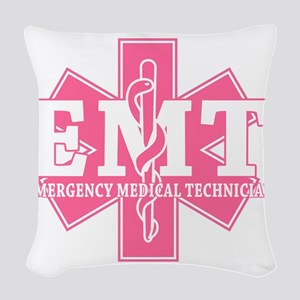 star of life - pink EMT word Woven Throw Pillow