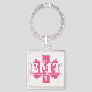 star of life - pink EMT word Square Keychain