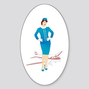 Flight Attendant 1 Sticker (Oval)