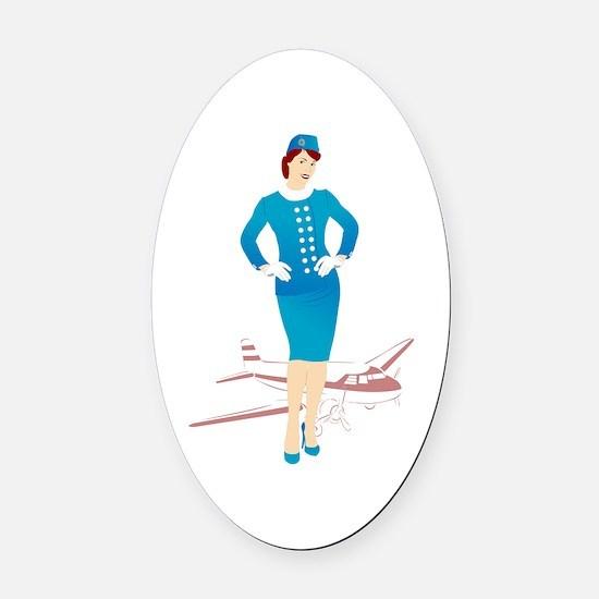 Flight Attendant 1 Oval Car Magnet