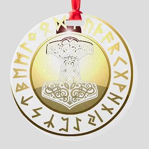 hammer rune shield Round Ornament