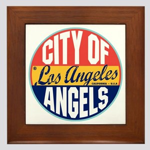 Los Angeles Vintage Label W Framed Tile