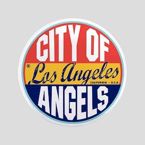 "Los Angeles Vintage Label W 3.5"" Button"