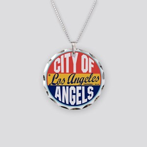 Los Angeles Vintage Label W Necklace Circle Charm