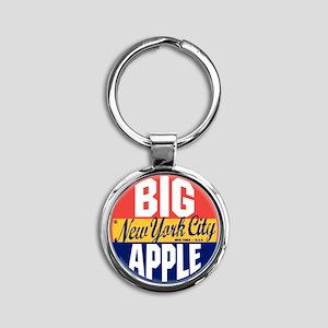 New York Vintage Label W Round Keychain