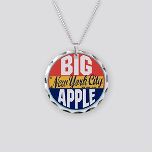 New York Vintage Label W Necklace Circle Charm
