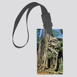 Ta Prohm overgrown temple ruins Large Luggage Tag