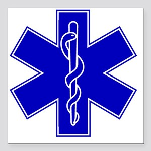 """star-of-life-blue Square Car Magnet 3"""" x 3"""""""