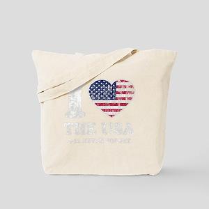 I Love USA-dk Tote Bag