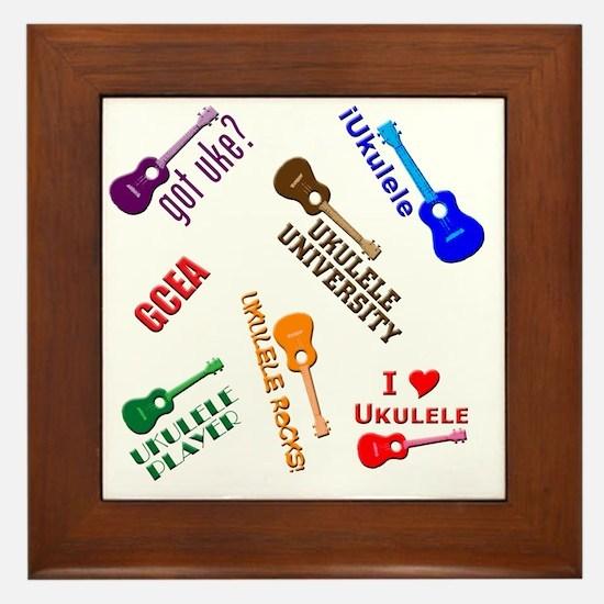 ukulele player ukes soprano tenor conc Framed Tile