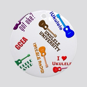 ukulele player ukes soprano tenor c Round Ornament