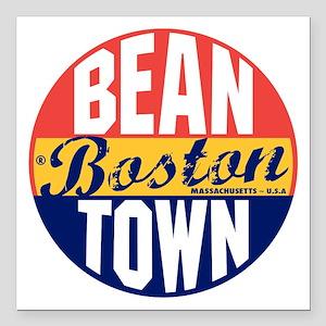 "Boston Vintage Label B Square Car Magnet 3"" x 3"""
