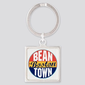 Boston Vintage Label W Square Keychain