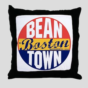 Boston Vintage Label B Throw Pillow