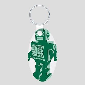 Robot Green Aluminum Oval Keychain