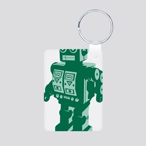 Robot Green Aluminum Photo Keychain