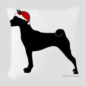 Basenji Santa Woven Throw Pillow
