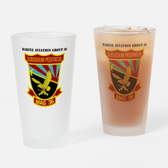 SSI -USMC-MAG 36 WITH TEXT Drinking Glass