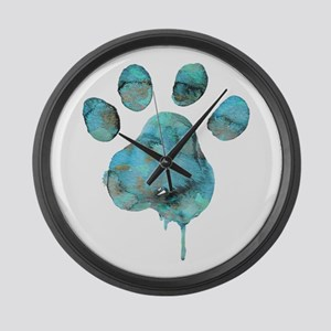 Watercolor Paw - Blue Large Wall Clock