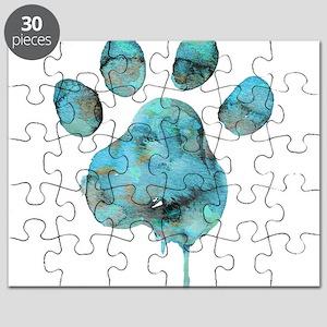 Watercolor Paw - Blue Puzzle