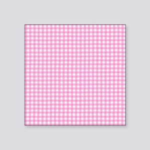 "PinkGinghamSq Square Sticker 3"" x 3"""