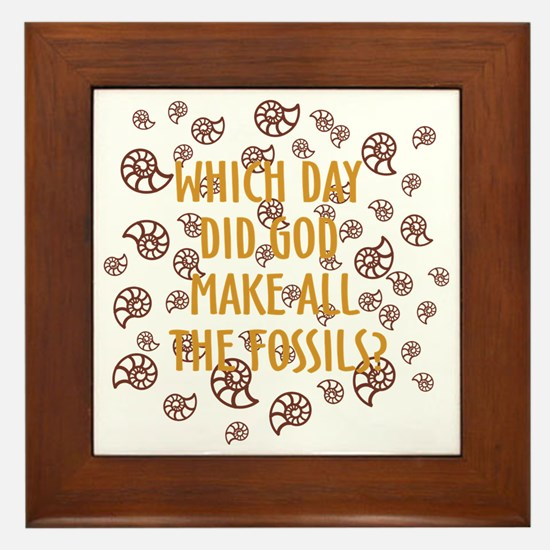 Fossils-dark shirt Framed Tile