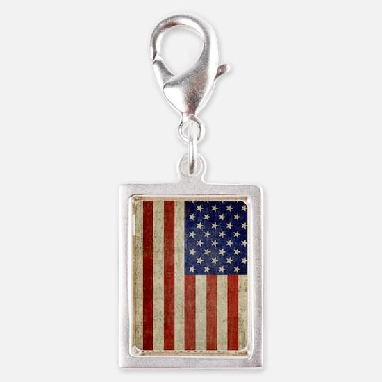 Vintage USA Flag Silver Portrait Charm