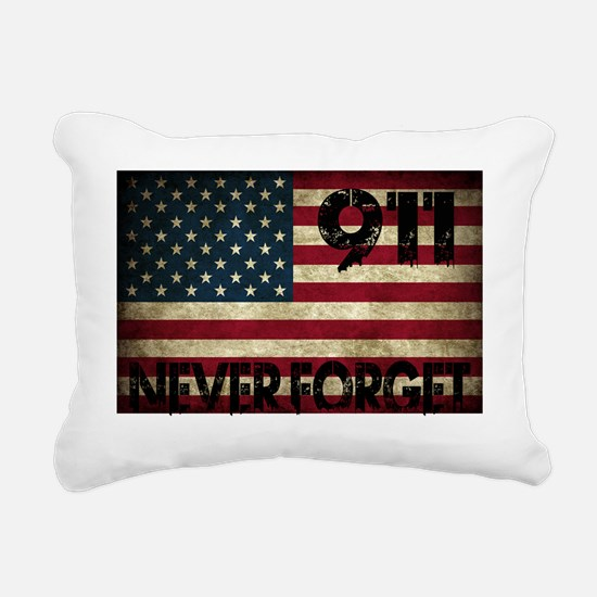 911 Grunge Flag Rectangular Canvas Pillow