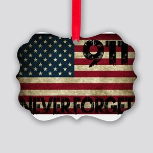 911 Grunge Flag Picture Ornament