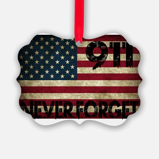 911 Grunge Flag Ornament