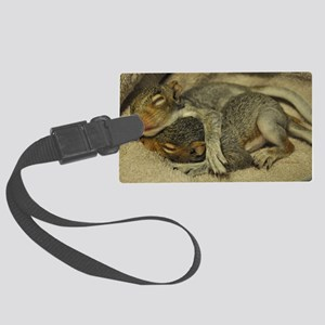 Baby squirrels cuddle L Large Luggage Tag