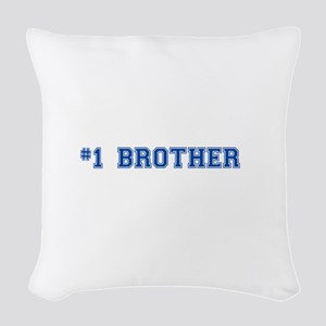 #1 Brother in blue Woven Throw Pillow