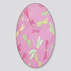 colorful drangonflies Sticker (Oval)