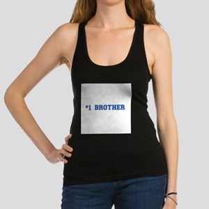 #1 Brother in blue Racerback Tank Top