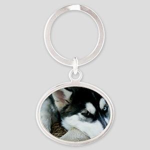 Siberian Husky Dog Oval Keychain