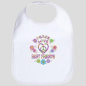 Peace Love Best Friends Baby Bib