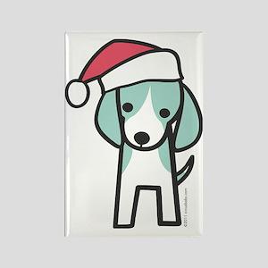 beagle_santa Rectangle Magnet