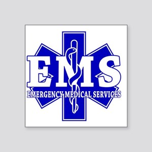 "star of life - blue EMS wor Square Sticker 3"" x 3"""