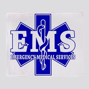 star of life - blue EMS word Throw Blanket