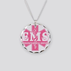star of life - pink EMS word Necklace Circle Charm