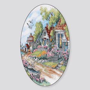 Cottages By The Sea Sticker (Oval)