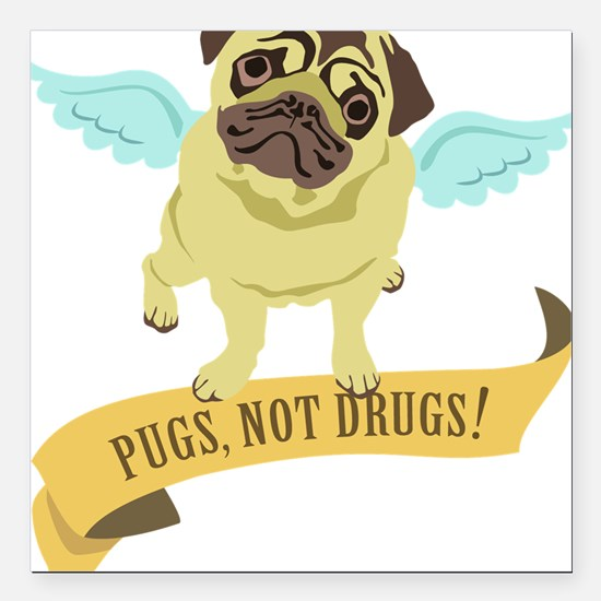 """pugs-not-drugs-wings Square Car Magnet 3"""" x 3"""""""