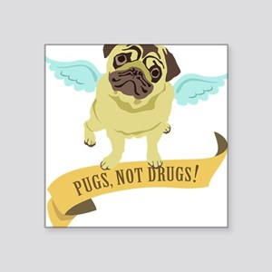 """pugs-not-drugs-wings Square Sticker 3"""" x 3"""""""