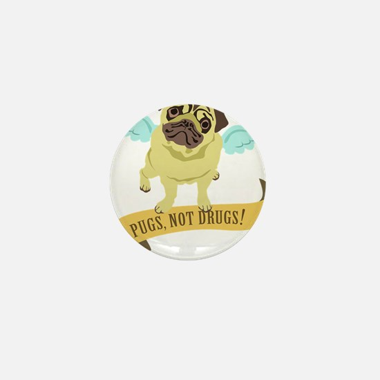 pugs-not-drugs-wings Mini Button