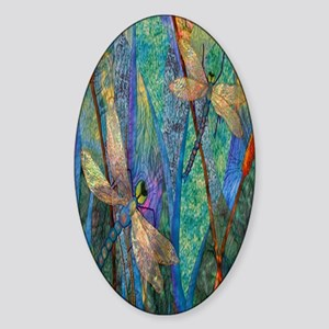 Colorful Dragonflies Sticker (Oval)