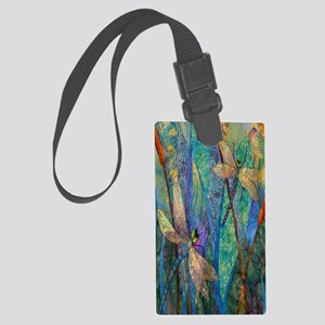 Colorful Dragonflies Large Luggage Tag