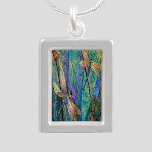 Colorful Dragonflies Silver Portrait Necklace