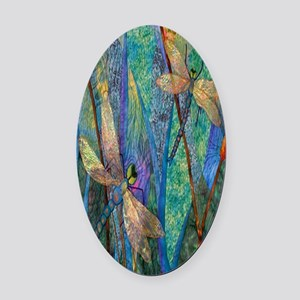 Colorful Dragonflies Oval Car Magnet