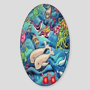 fun-under-the-sea-fish Sticker (Oval)