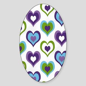 hearts green purple Sticker (Oval)
